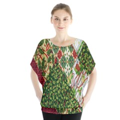 Christmas Quilt Background Blouse