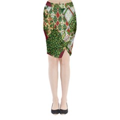Christmas Quilt Background Midi Wrap Pencil Skirt