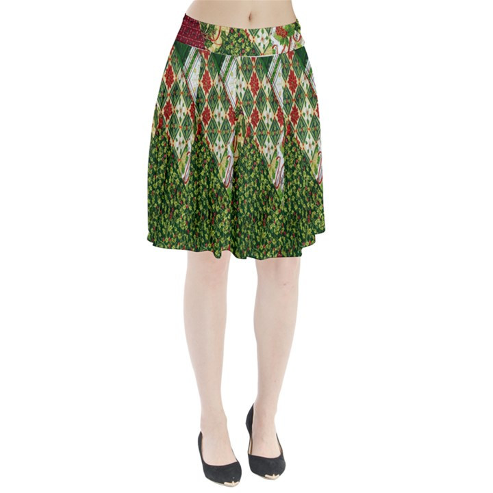 Christmas Quilt Background Pleated Skirt