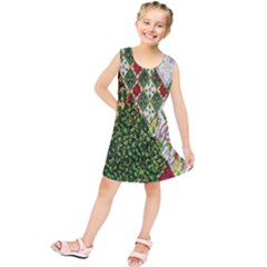 Christmas Quilt Background Kids  Tunic Dress