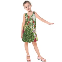 Christmas Quilt Background Kids  Sleeveless Dress