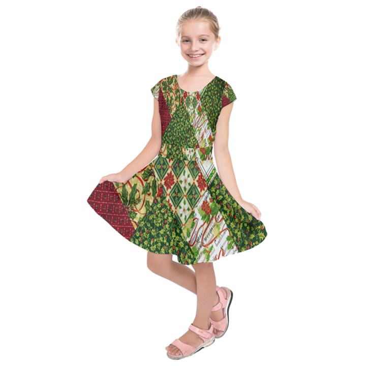 Christmas Quilt Background Kids  Short Sleeve Dress