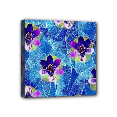 Purple Flowers Mini Canvas 4  X 4