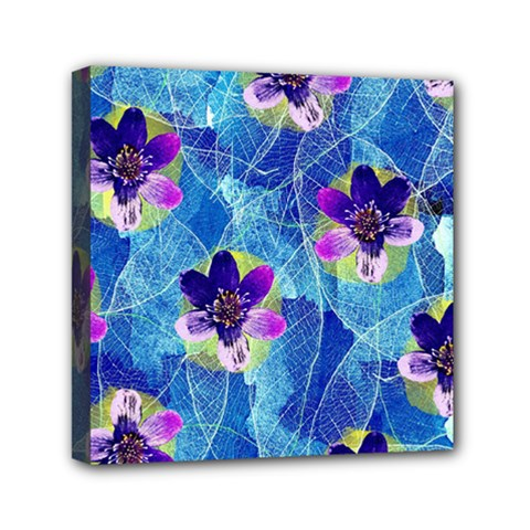 Purple Flowers Mini Canvas 6  X 6