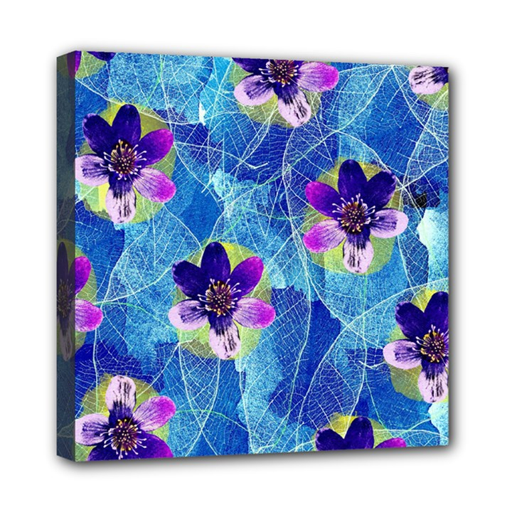 Purple Flowers Mini Canvas 8  x 8