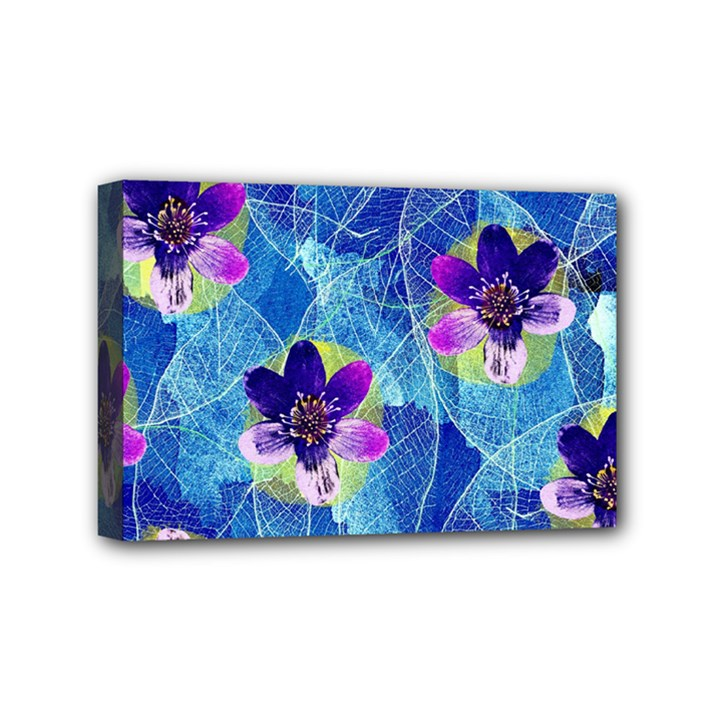 Purple Flowers Mini Canvas 6  x 4