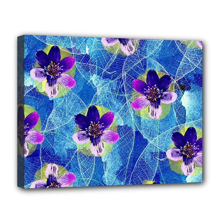 Purple Flowers Canvas 14  x 11