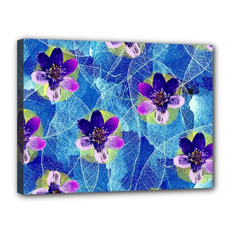 Purple Flowers Canvas 16  x 12