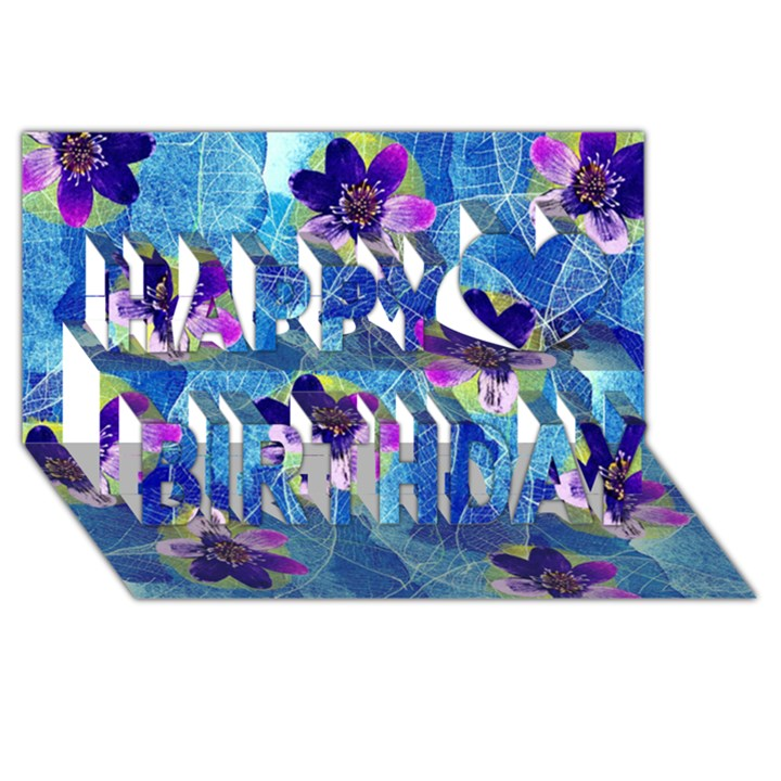 Purple Flowers Happy Birthday 3D Greeting Card (8x4)
