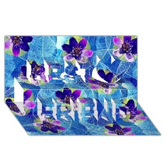 Purple Flowers Best Friends 3D Greeting Card (8x4)