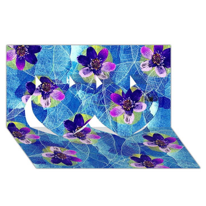 Purple Flowers Twin Hearts 3D Greeting Card (8x4)