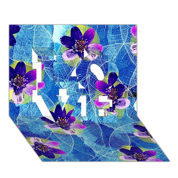 Purple Flowers LOVE 3D Greeting Card (7x5)