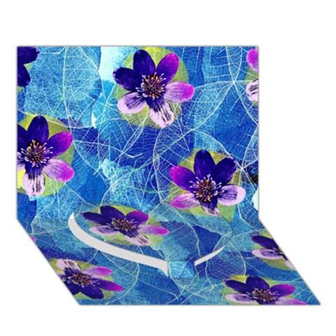 Purple Flowers Heart Bottom 3D Greeting Card (7x5)