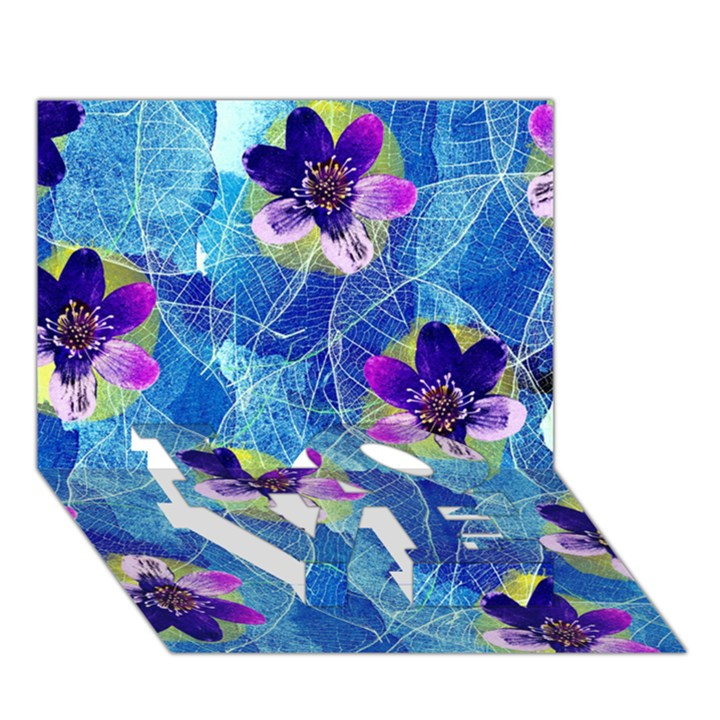 Purple Flowers LOVE Bottom 3D Greeting Card (7x5)