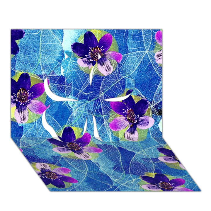 Purple Flowers Clover 3D Greeting Card (7x5)