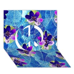 Purple Flowers Peace Sign 3D Greeting Card (7x5)