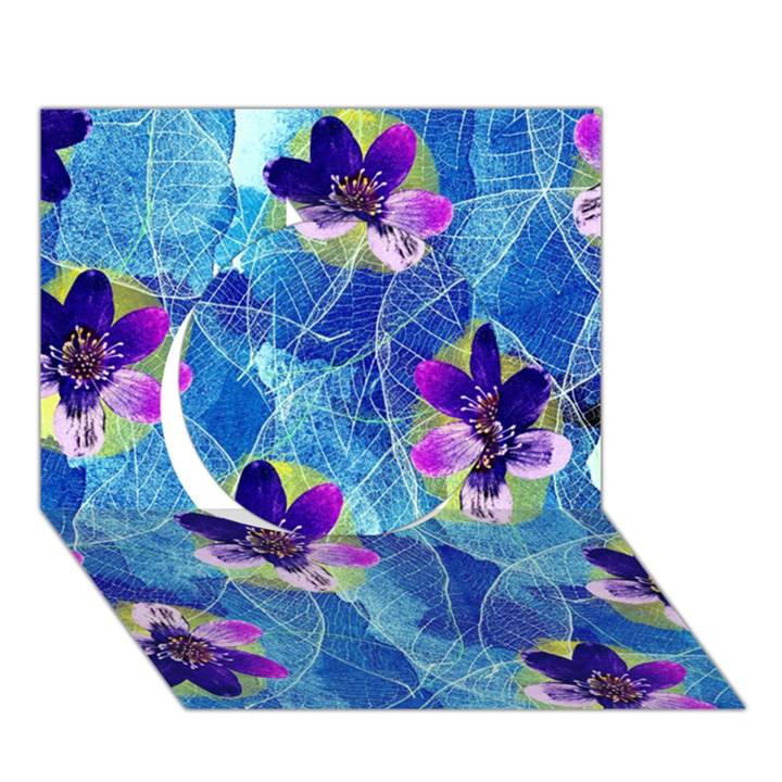 Purple Flowers Circle 3D Greeting Card (7x5)