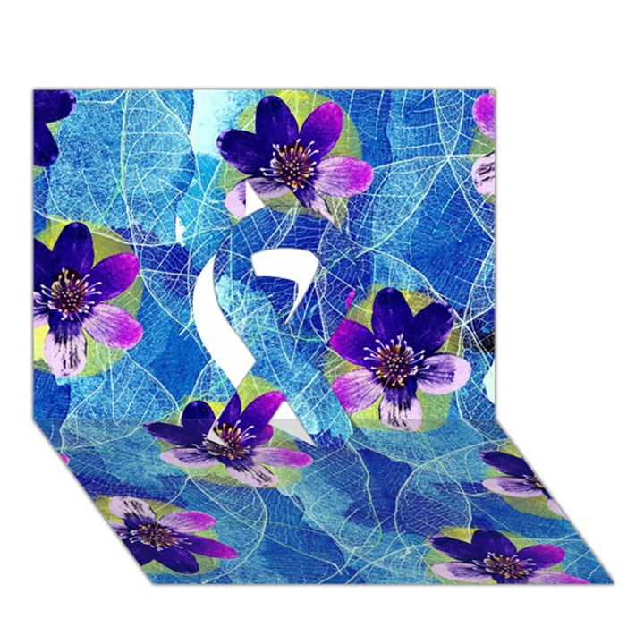 Purple Flowers Ribbon 3D Greeting Card (7x5)