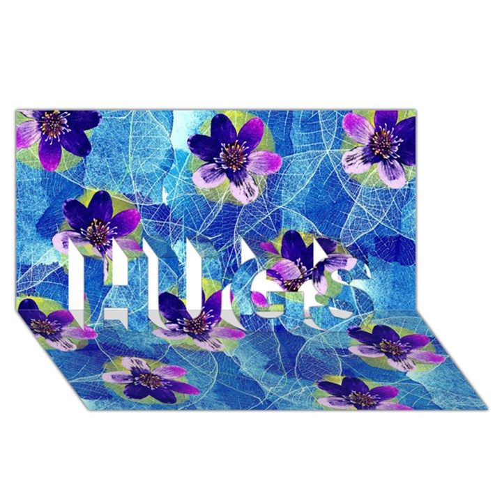 Purple Flowers HUGS 3D Greeting Card (8x4)