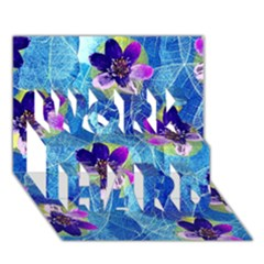 Purple Flowers Work Hard 3d Greeting Card (7x5)