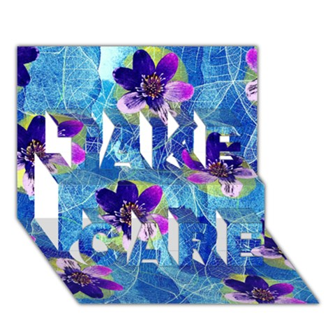 Purple Flowers TAKE CARE 3D Greeting Card (7x5)