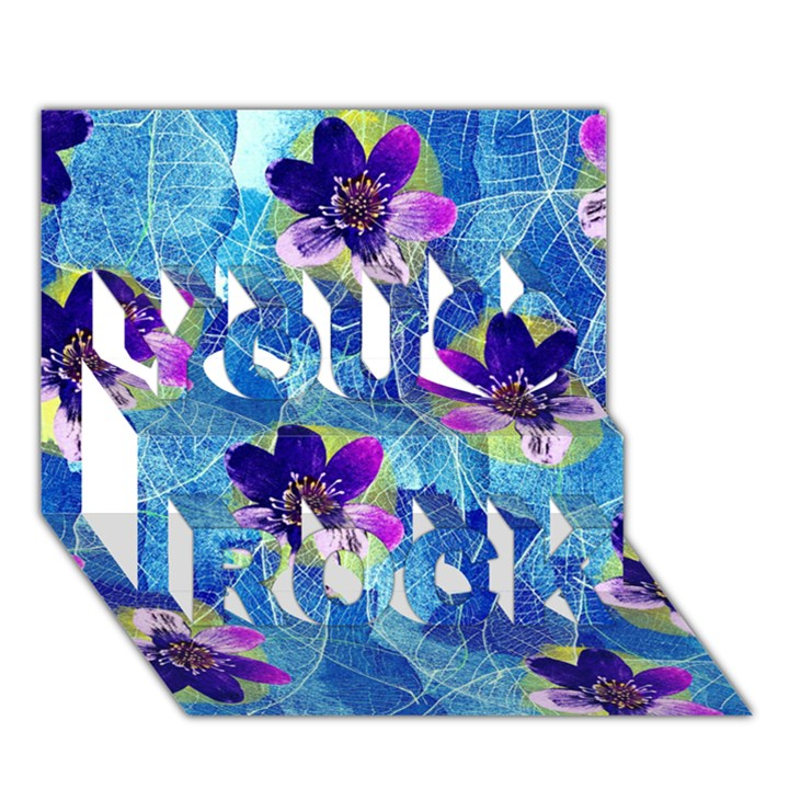 Purple Flowers You Rock 3D Greeting Card (7x5)