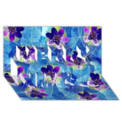 Purple Flowers Merry Xmas 3D Greeting Card (8x4)