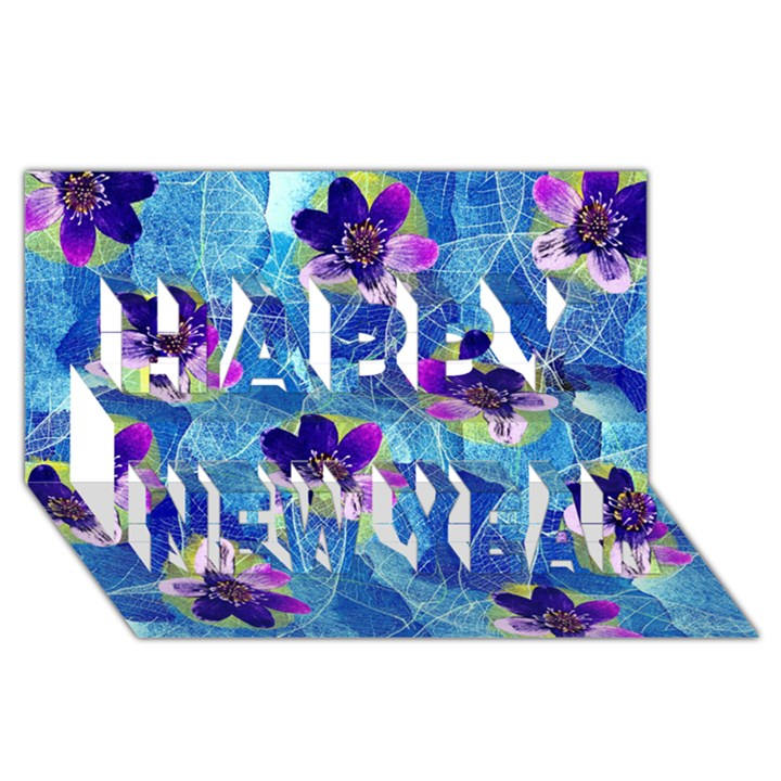 Purple Flowers Happy New Year 3D Greeting Card (8x4)