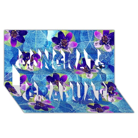 Purple Flowers Congrats Graduate 3D Greeting Card (8x4)