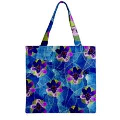 Purple Flowers Grocery Tote Bag