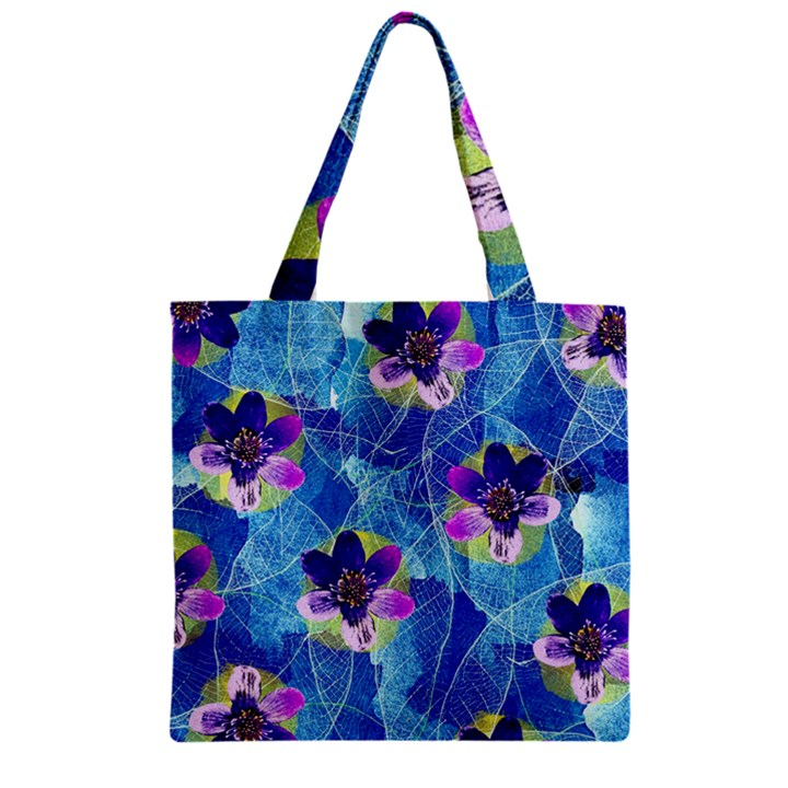 Purple Flowers Zipper Grocery Tote Bag