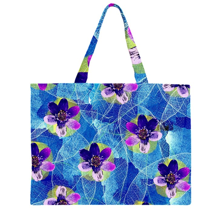 Purple Flowers Large Tote Bag