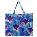 Purple Flowers Zipper Large Tote Bag View1