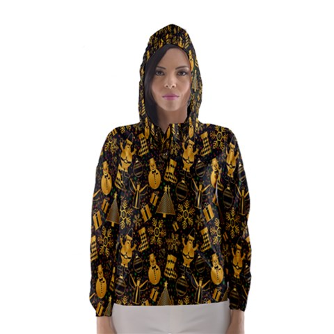 Christmas Background Hooded Wind Breaker (Women)