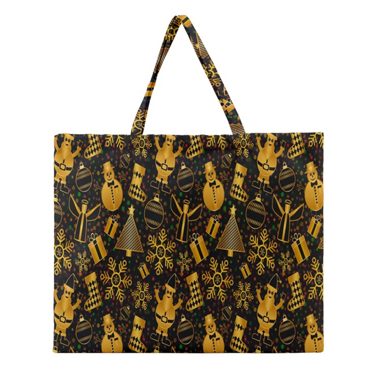Christmas Background Zipper Large Tote Bag