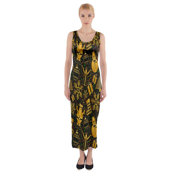 Christmas Background Fitted Maxi Dress