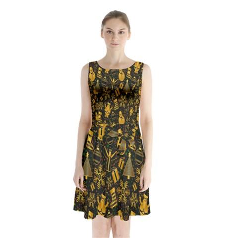 Christmas Background Sleeveless Chiffon Waist Tie Dress