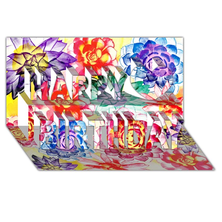 Colorful Succulents Happy Birthday 3D Greeting Card (8x4)