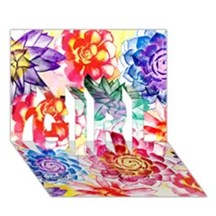 Colorful Succulents Girl 3d Greeting Card (7x5)