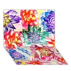 Colorful Succulents LOVE Bottom 3D Greeting Card (7x5)