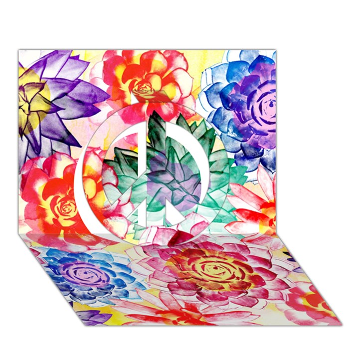 Colorful Succulents Peace Sign 3D Greeting Card (7x5)