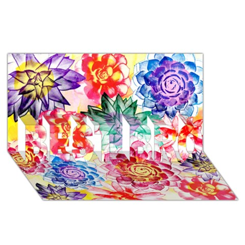 Colorful Succulents BEST BRO 3D Greeting Card (8x4)