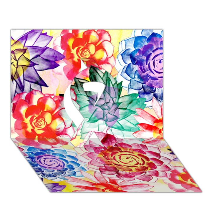 Colorful Succulents Ribbon 3D Greeting Card (7x5)