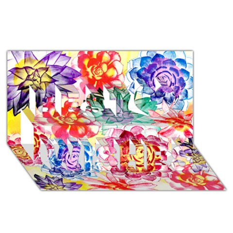 Colorful Succulents Best Wish 3D Greeting Card (8x4)