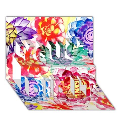 Colorful Succulents You Did It 3D Greeting Card (7x5)