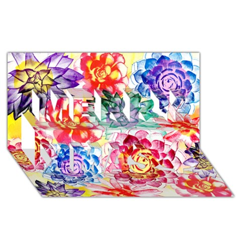 Colorful Succulents Merry Xmas 3D Greeting Card (8x4)