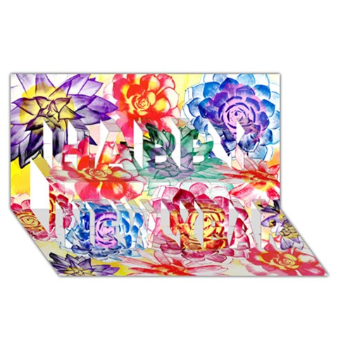 Colorful Succulents Happy New Year 3D Greeting Card (8x4)
