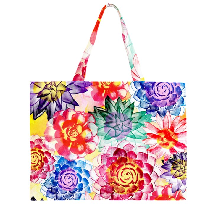 Colorful Succulents Large Tote Bag