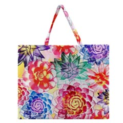 Colorful Succulents Zipper Large Tote Bag