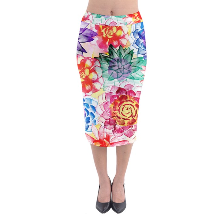 Colorful Succulents Midi Pencil Skirt